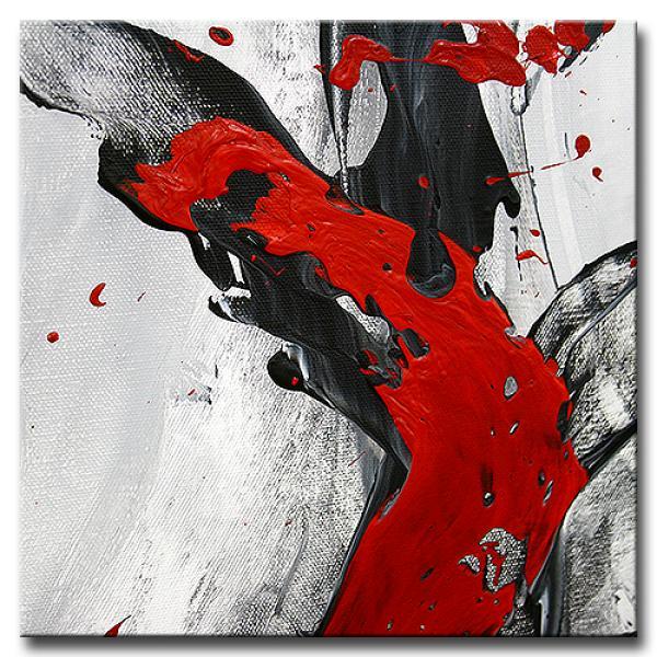 Gemälde, handgemalt ABSTRAKTION No.3 grau / schwarz / rot ...